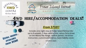 4WD Hire & Accommodation Package Fraser Island Retreat from $710