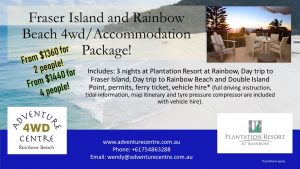 4WD Hire & Accommodation Package Rainbow Beach from $1360