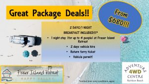 4WD Hire & Accommodation Package Fraser Island